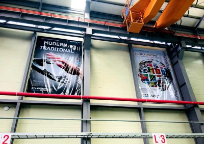 Sverdrup Steel Warehouse Korea Showing Advertising Concepts on Walls