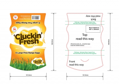 Cluckin Fresh Egg Carton Artwork Graphic Design